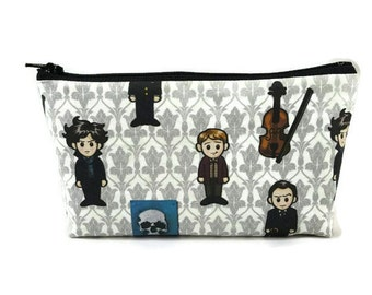 Sherlock Holmes and Watson Zipper Pouch,  Makeup Bag, Tampon Case, Toiletry Bag, Sherlock Cosmetic Bag,  Zipper Wallet, Gadget Bag, Glam Bag