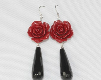 Sterling Silver Onyx & Resin Rose Drop Earrings