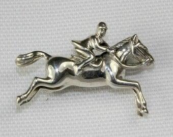 Sterling Silver Horse & Rider Brooch