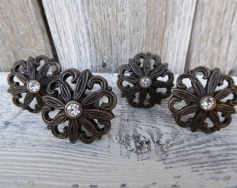 Antique Bronze with Rhinestone Flower Metal Drawer Pulls Knobs YOU CHOOSE ~ Romantic Country Shabby Chic Home Decor
