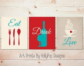 Red Aqua Kitchen Art Modern Kitchen Wall Prints Eat Drink Love Kitchen Utensils Art Coffee Cup