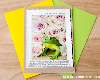 Funny Frog Greeting Card • Blank Inside Card • Photo Greeting Card •Animal Tales Collectable Card • Miniature Animal • Looking for Mr Right