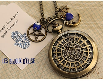 Tetragrammaton Pocket Watch Pendant Necklace Isoteric Victorian Style Bronze Antique