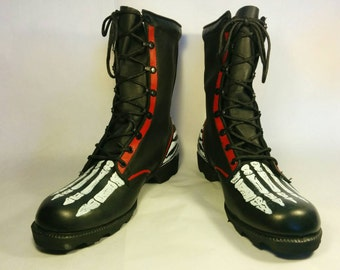 Punk rock boots, custom combat boots, combat boots, skeleton boots, hand painted boots, street punk boots, crust punk boots, zebra print