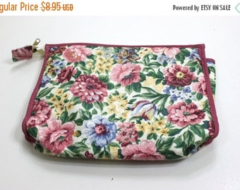 50% OFF Vintage Zip Top Floral Fabric Clutch 10 inch length 7 inch height  2 inch width