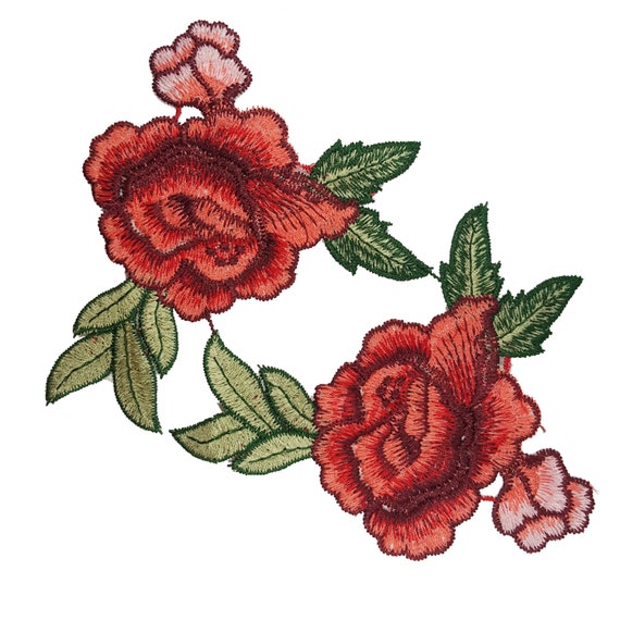 Embroidered Rose Flower Patch Applique Motif For Sewing