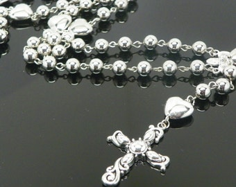 Silver plated rosary necklace with hearts, Rosary, Chaplet(.)