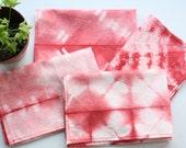 2 Red Shibori placemats - Hand tie-dye