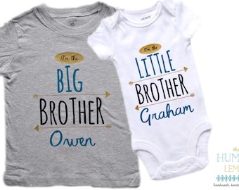 Big Brother Little Brother Shirt Set, Coming Home Outfit, Hospital Outfit, Name Announcement: Personalized Big and Little Brother Shirt