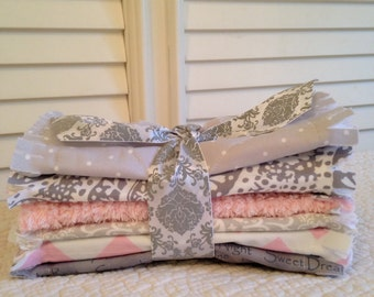 Baby Quilt Style Burp Cloths, Pink Gray  ONE Set of 2 Paisley Shabby Chic Rag Quilt Crib Bedding Baby Shower Gift Basket