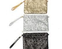 Sequin bag, Sequin Clutch, Sequin Makeup Bag, Sequin Bridesmaids gift, gold silver or black sequin bag