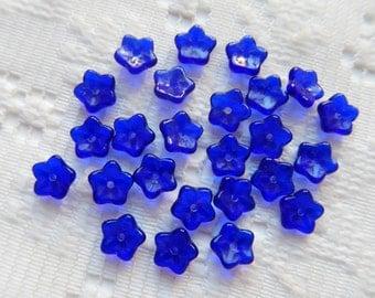 25  Cobalt Blue Transparent 5 Petal Czech Glass Flower Beads  7mm