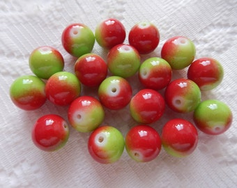 20  Red & Apple Green Round Glass Beads  11mm