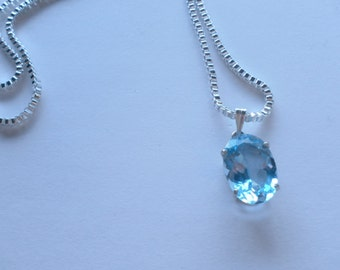 SKY BLUE TOPAZ set in sterling silver with 16 inch box chain.