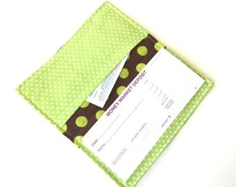 Fabric Checkbook Cover- Wallet, Coupon Holder- Green Brown Polka Dots