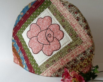 Handmade Tea Cozy Quilted Cotton Vintage Rose
