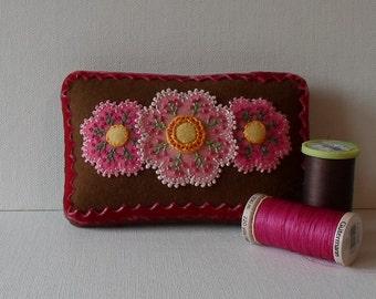Handmade Mini Needle Cushion Brown Felted Wool Pink & Yellow Floral Pincushion