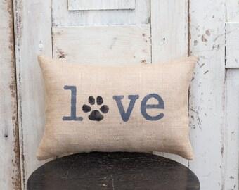 Love - Paw Print Decorative Pillow Decor Pillow Simple Pillow Pet Love Dog Love Cat Love Pet Pillow Dog Pillow Cat Pillow burlap 14x9 pillow