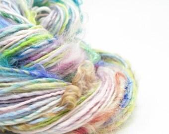 Textured Yarn, Handspun Yarn, Art Yarn, Handspun Art Yarn, Artisan Yarn, Weaving Yarn, Rainbow Yarn, Pink Yarn, Mixed Media Yarn - FANCY