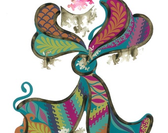 Arwa, A3 Giclée Print, Fashion Illustration, Girly Bedroom Wall Art, Colourful Girly Illustration,
