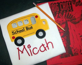 Back To School Bus Applique Monogrammed T Shirt - Personalized Monogram Academy Grade Kids Boy Girl Teacher Class Yellow Bus Vehicle