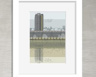 London Architectural Print - Barbican