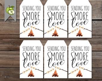 S'more wedding favor tag, s'more tag, S'more favor, mason jar tag, s'more gitf, smore favor tag, Thank you gift tag, wedding Printable,