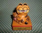 "Garfield Push Puppet ""I Never Met A Lasagna I Didn't Like"" Statue Vintage 80's FUN"