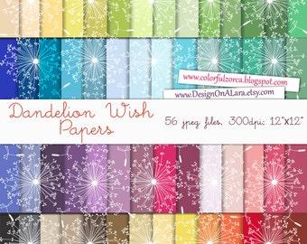 Dandelion Wish Digital Papers, Floral Digital Paper Pack, dandelion patterns, Colorful Papers for scrapbooking, paper crafts, stationery