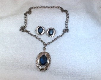 Blue Stone Necklace and Clip Earrings
