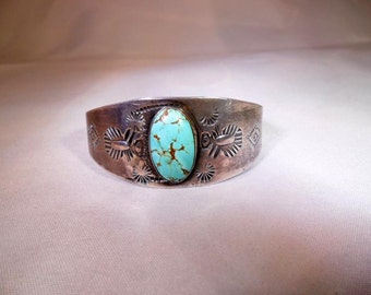 Vintage c.1920's Fred Harvey A+ Blue Turquoise Sterling Silver Cuff Bracelet