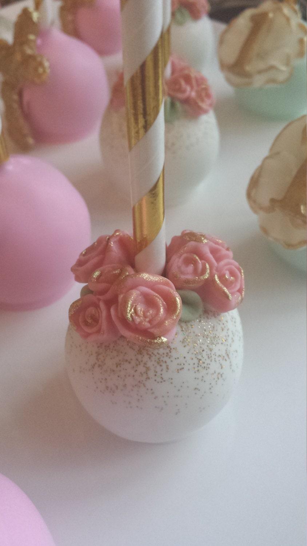 Garden themed cake pops flower cake pops baby shower cake for Pop cake decoration