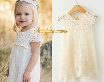 Size 2T, Cream crochet lace dress, champagne flower girl lace dress, beach flower girl dress, floral lace short summer dress