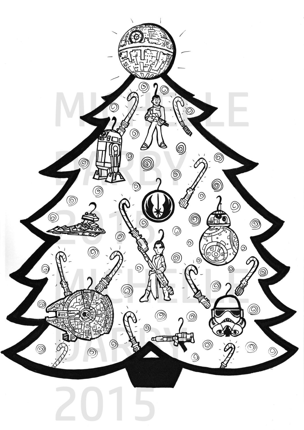 Star Wars Christmas Tree Colouring Page