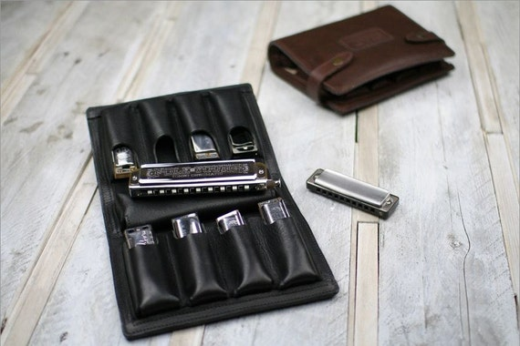 Nine-Pack Leather Harmonica Case, leather chromatic harmonica case, blues harp holder, high quality leather, mouth organ case