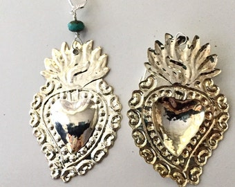 Silver Milagro  large Sacred Heart Earrings, Corazon,Two Broke Girls, Sacred Hearts, Flaming Hearts,Frida Kahlo,Day of the Dead, Kat Denning