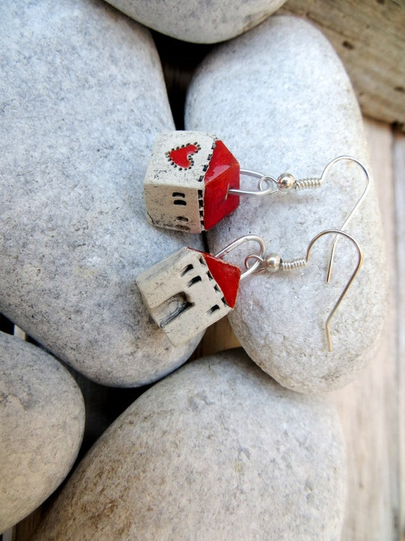 Small House Earrings with Red roof, tiny white ceramic house earrings, houses of love