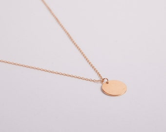 Rosegold Plated Necklace Disc Rose Gold Ring Circle Coin Rose Golden Necklace