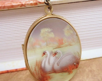 Swan Locket Necklace Pendant Vintage White Swan Victorian Mothers Day Jewelry Gift