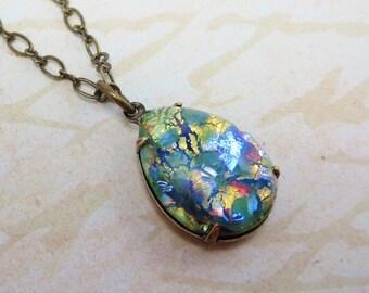 Green Fire Opal Necklace Pendant Peridot Green Opal Necklace