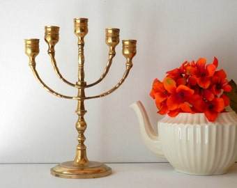 Brass Menorah, Vintage Candelabra, Grieving Gifts