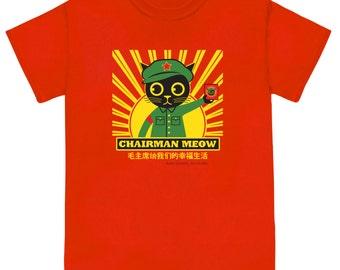 Cat Tee Shirt CHAIRMAN MEOW Unisex Red T Shirt