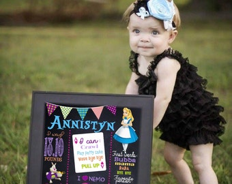 Alice in wonderland first birthday Chalkboard, tea party Birthday sign,  cheshire catone First Printable Size 16x20 photo prop