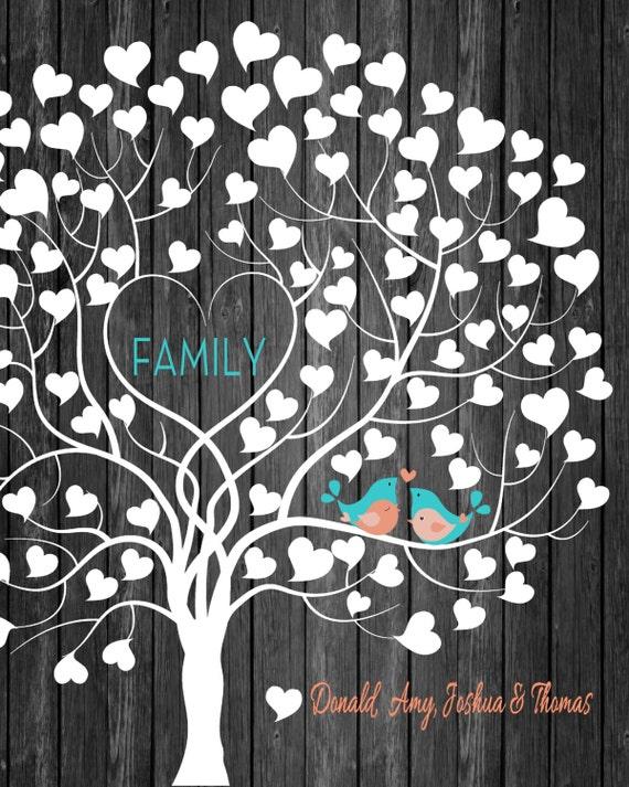 Family Tree Print - Family Tree Wall Art - wedding gift Digital ...