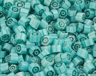 Millefiori Murrano - aquagreen, 70 pieces