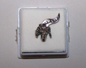 Vintage Big Horn Sheep Head Bust  Charm --ALASKA --  Sterling 925 -- 3 D