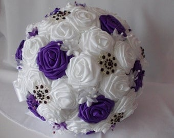 wedding bridal bouquet,purple and white handcrafted roses with brooches