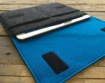 iPad Air Case / iPad Air Sleeve / iPad Air Cover - Mottled Dark Grey and Teal Blue - 100% Wool Felt