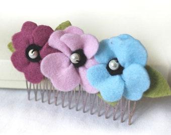Pastel Poppy Hair Comb, Felt Flower Hair Comb, Pale Pink, Mauve & Baby Blue Flowers Hair Comb, Soft Shades Spring Wedding Hair Flowers