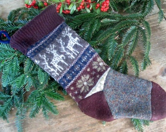 Wool stocking Ready to ship! Sweater stocking. Rustic primitive country Christmas stocking recycled . Eco friendly holiday stocking
